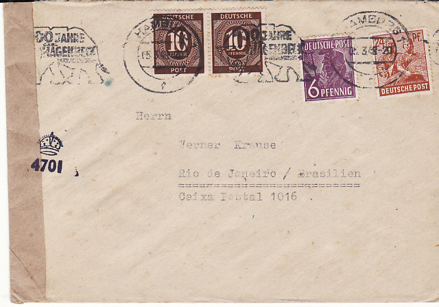 [17527]  GERMANY-BRAZIL..BRITISH ZONE of ALLIED OCCUPATION..ELEPHANTS...  1948(Mar 15)