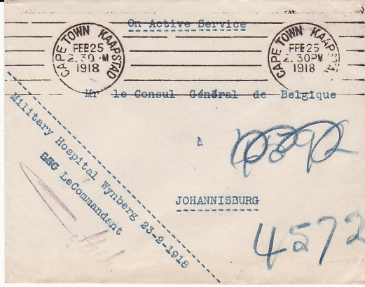 [17562]  SOUTH AFRICA.....WW1 MILITARY HOSPITAL to BELGIAN CONSULATE...  1918 (Feb 23)