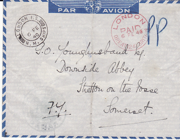 [17651]  SENEGAL-GB...FRENCH NAVAL FORCES...  1940 Air France printed airmail envelope (heavy vertical crease)