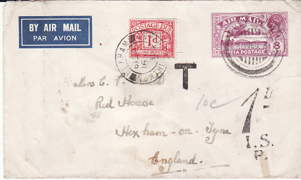[17693]  INDIA - GB..1932 UNDERPAID AIRMAIL & TAXED...  1932 (Dec 30)