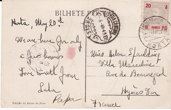 [17706]  AZORES - FRANCE...1910 PORTUEGESE COLONIES...  1910 (May 20)