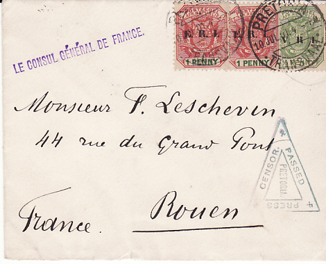 [10485]  SOUTH AFRICA - FRANCE....BOER WAR.. FRENCH CONSULATE in TRANSVAAL...  1901 (Jul 10 )