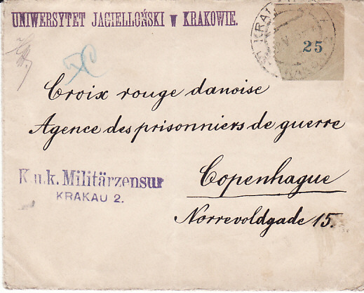[13119]  POLAND - DENMARK....1915 PROVISIONAL 25 LABEL to RED CROSS POW AGENCY...  1915 (May 28)