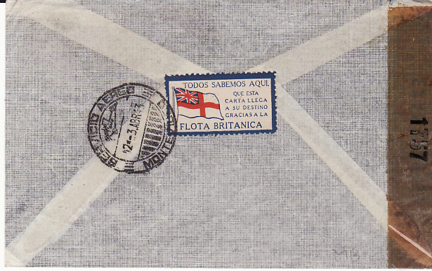 "[13396]  URUGUAY - GB....SCARCE ""THANKS TO THE BRITISH NAVY"" PATRIOTIC LABEL in SPANISH...  1943 (Apr 3)"