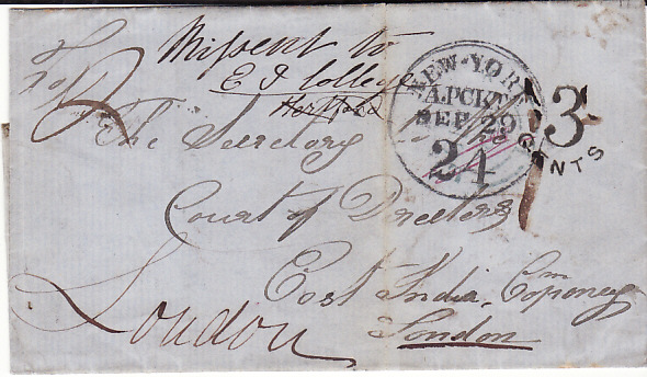 [13863]  IRELAND - GB...MISSENT from LIVERPOOL to USA...   1852 (Sep 12)