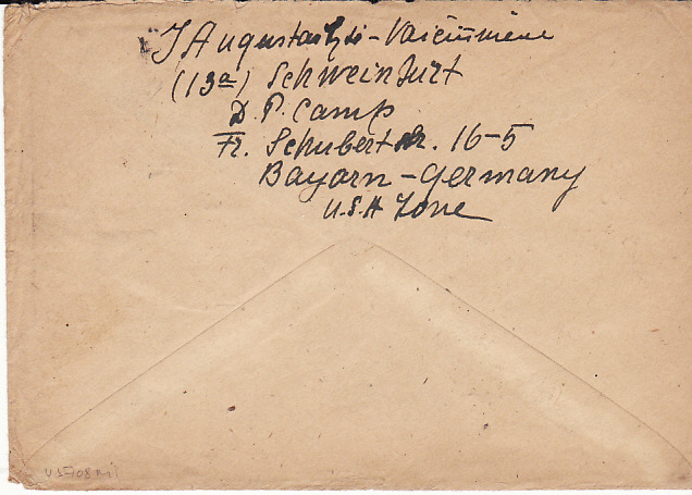 [13928]  GERMANY - USA...LITHUANIAN D.P. CAMP SCHWEINFURT...  1948 (Jan 26)