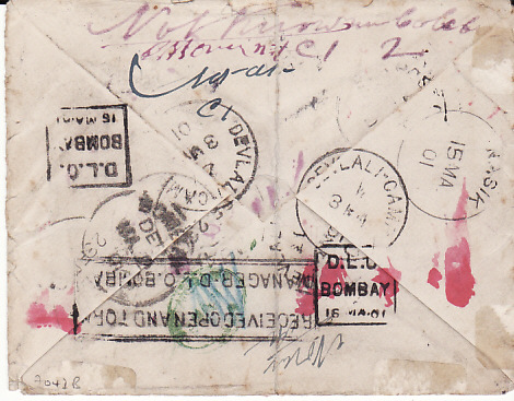 [17737]  GB - INDIA..BOER WAR INDIAN CONTINGENT MAIL FOUND OPEN & DAMAGED...   1901 (Feb 3)