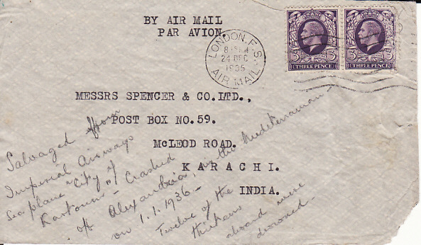 "[17874]  GB -INDIA...SALVAGED from FLYING BOAT ""CITY OF KHARTOUM"" ...   1935 (Dec 24)"