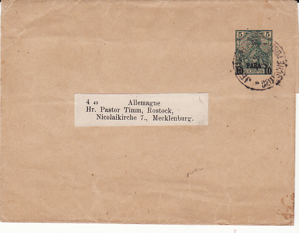 [13210]  PALESTINE -GERMANY...1901 GERMAN POST OFFICE with INSTRUCTIONAL MARKING...   1901 (Aug ??)