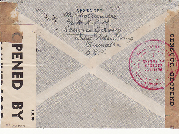 [11942]  NED EAST INDIES - GB..TWO OCEAN TRANS PACIFIC TRANS ATLANTIC MAIL..  1941 (Jan 10)