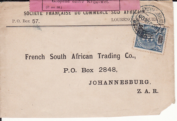 [17977]  LOURENCO MARQUES - SOUTH AFRICA...1900 PORTUGUESE COLONY to BOER WAR ...  1900 (Jan 20)