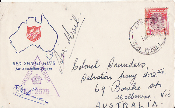 [16737]  MALAYA-AUSTRALIA...WW2 AUSTRALIAN FORCES on SALVATION ARMY PATRIOTIC COVER]  1941 (Jul 15)