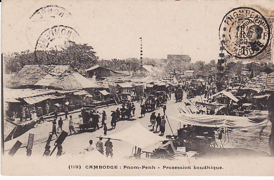 [14045]  CAMBODIA - PAMAMA…1909 RARE DESTINATION…  1909 (Jan 15)