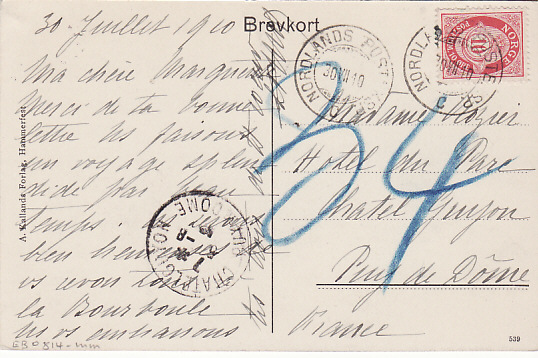 [17887]  NORWAY - FRANCE...ARTIC CIRCLE...  1910 (Jul 30)