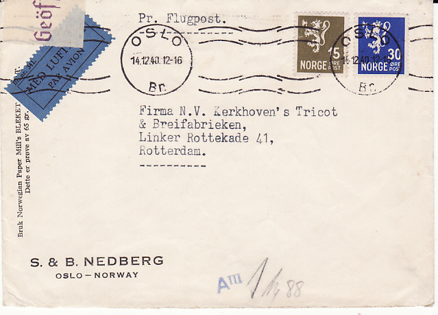 [18115]  NORWAY -NETHERLAND...WW2 CENSORED AIRMAIL…  1940 (Dec 14)