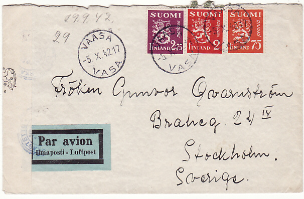 [14777]  FINLAND-SWEDEN [CENSORED/AIRMAIL]  1942(Oct 5)