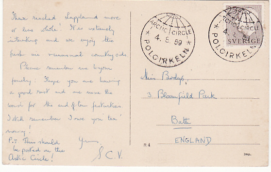 [17075]  SWEDEN-GB...ARTIC CIRCLE POSTCARD..  1959(Aug 4)