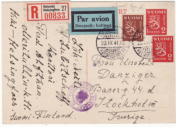 [18093]  FINLAND - SWEDEN...WW2 REGISTERED CENSORED AIRMAIL POST CARD…  1941 (Apr 29)
