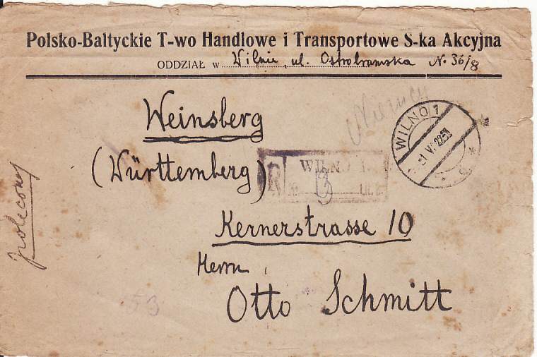 [14863]  LITHUANIA/POLAND-GERMANY..1922 REGISTERED..  1922(May 1)