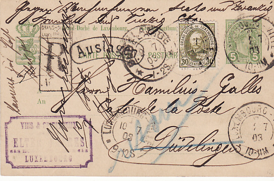[14311]  LUXEMBOURG...REGISTERED STATIONARY CARD USED INTERNALLY & RETURNED..  1903 (Jul 1)