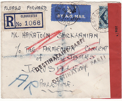 [14550]  GB-PALESTINE…1949 REGISTERED A.R..CENSORED AIRMAIL & RETURNED…  1949(Nov 15)