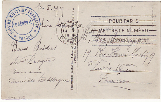 [14900]  FRANCE...MILITARY MISSION CZECHOSLOVAKIA…  1919(May 10)