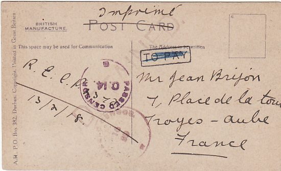 [14051]  SOUTH AFRICA-FRANCE...WW1 DETAINED MAIL…  1918(Feb 15)