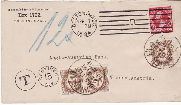 [14646]  USA-AUSTRIA..1st ISSUE POSTAGE DUE..  1894 (Apr 7)