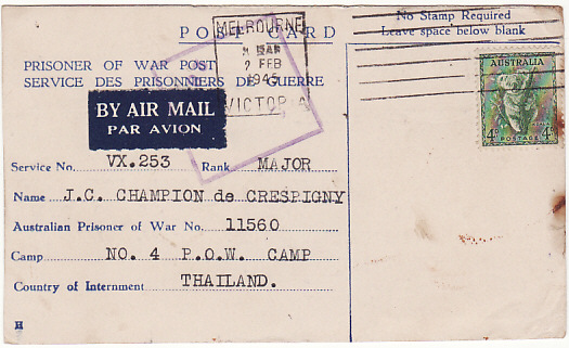 [14165]  AUSTRALIA - THAILAND...LIBERATED POW from DEATH RAILWAY…  1945 (Feb 2)