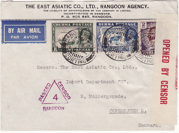 [14443]  BURMA-DENMARK….WW2 CENSORED AIR MAIL with PERFIN