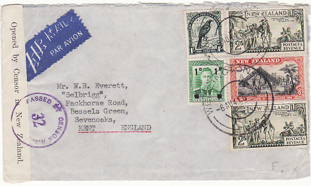 [14330]  NEW ZEALAND - GB…WW2 TRANS PACIFIC TRANS ATLANTIC AIRMAIL..  1941 (Aug 6)