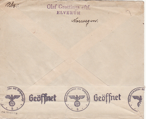 "[18112]  NORWAY -GERMANY...WW2 ""V"" OVERPRINT on CENSORED COVER…  1941 (Sep 30)"