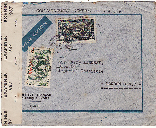 [15219]  SENEGAL - GB….WW2 FRENCH COLONIAL MIXED FRANKING & CENSORED…  1944 (Nov 15)