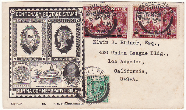[18298]  BURMA - USA…1940 CENTENARY CENSORED FIRST DAY ISSUE…  1940 (May 6)
