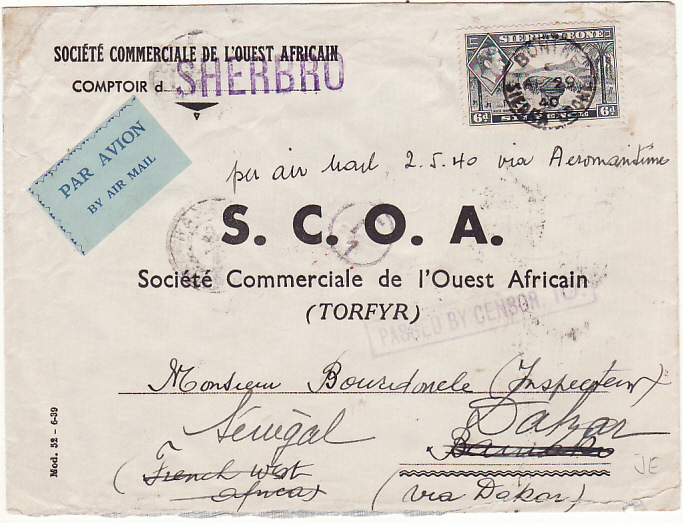 [15215]  SIERRA LEONE - FRENCH SOUDAN - SENEGAL….WW2 FORWARDED CENSORED AIRMAIL..  1940 (Apr 29)