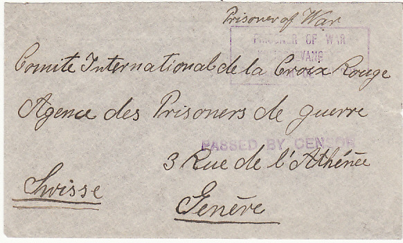 [18318]  SOUTH AFRICA - SWITZERLAND…WW1 POW MAIL…  1914-18 undated plain envelope endorsed Prisoner of War to Geneva from G. Thomaset, 325 Internment Camp 1/36, Maritzsburg (Natal)