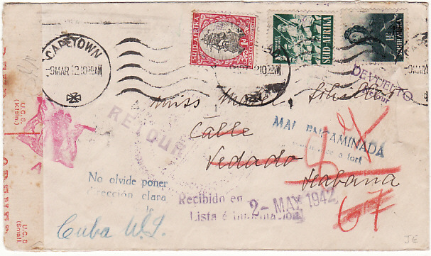 [15000]  SOUTH AFRICA - CUBA…WW2 DOUBLE CENSORED & RETURNED TO SENDER..  1942 (Mar 9)