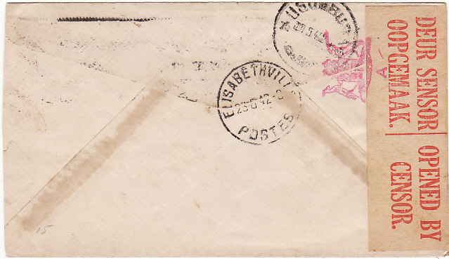 [15018]  SOUTH AFRICA - RUANDA-URUNDI…WW2 CENSORED..  1942 (May 20)