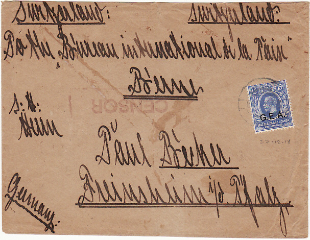 [15047]  G.E.A. - SWITZERLAND - GERMANY…WW1 BRITISH OCCUPATION...  1918 (Dec 27)