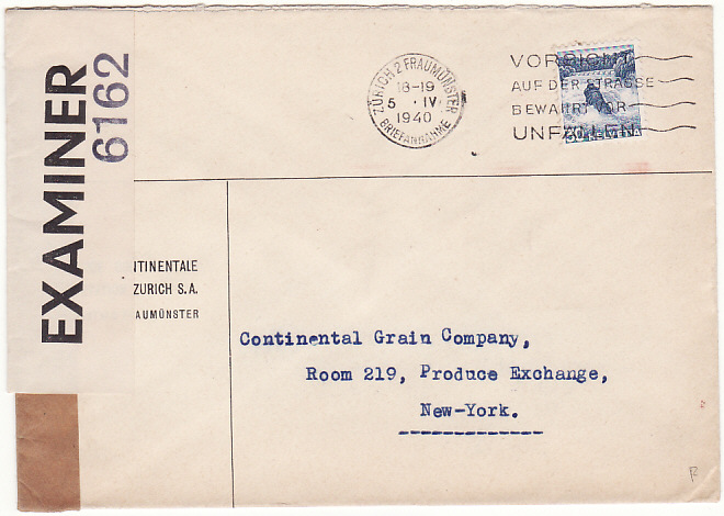 [15061]  SWITZERLAND - USA…WW2 CENSORED GIBRALTAR with INTERIM LABEL…  1940 (Apr 5)