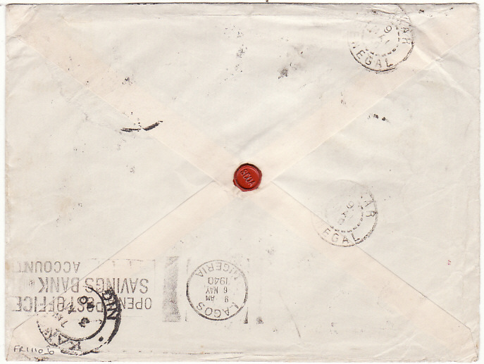 [15216]  NIGERIA - SENEGAL… WW2 UNCENSORED AIRMAIL…  1940 (Apr 30)