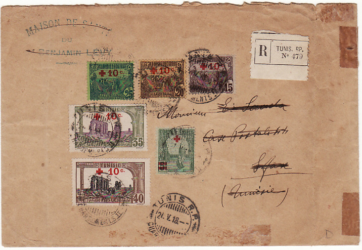 [15328]  TUNISIA…WW1 INTERNAL REGISTERED MAIL with RED CROSS ADHESIVES..  1918 (May 21)