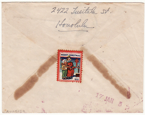 "[18399]  HAWAII - USA…R.M.M.S. ""AORANGI"" PACKET BOAT & RETURNED….   1932 (Dec 23)"