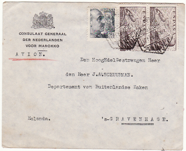 [18415]  SPANISH MOROCCO - HOLLAND…CONSULAR MAIL…  1948 (Feb 12)