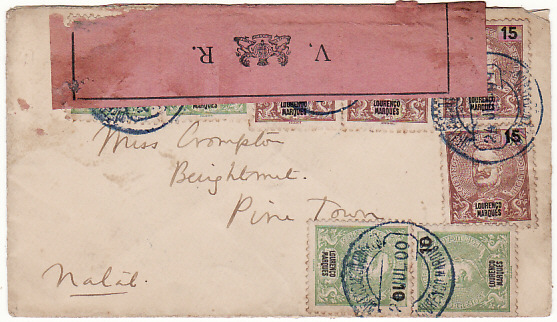 [18482]  PORTUGUESE EAST AFRICA - SOUTH AFRICA…1900 BOER WAR CENSORED...  1900 (Jul 20)