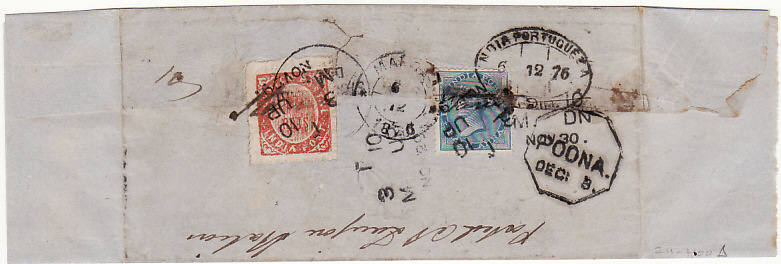 [15815]  INDIA - PORTUGUESE INDIA….INTERNAL RAILWAY MAIL  1876 (Nov 28)