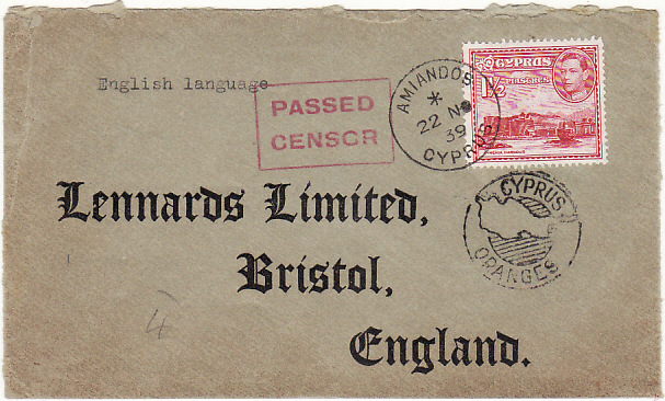 [16671]  CYPRUS - GB... [WW2 CENSORED MAIL from AMIANDOS..  1939(Nov 22)