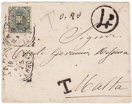 [16804]  ITALY - MALTA…..4d POSTAGE DUE…  1895 (Apr 18)