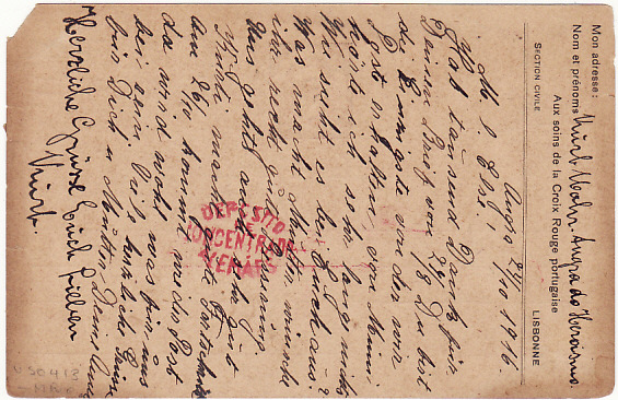 [16867]  PORTUGUESE COLS...AZORES - GERMANY….WW1 CIVIL INTERNEE via RED CROSS…  1916 (Oct 24)