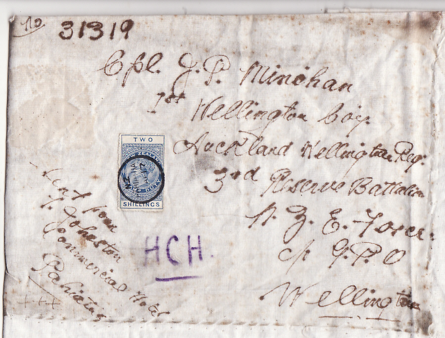 [16982]  NEW ZEALAND…..WW1 FISCAL 2/- used on CLOTH PARCEL WRAPPING to NZ SOLDIER…..  1917 (Apr)